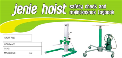 Jenie Hoist Safety Check & Maintenance Logbook